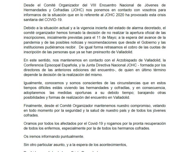 Comunicado Oficial JCSSVA-JOHC