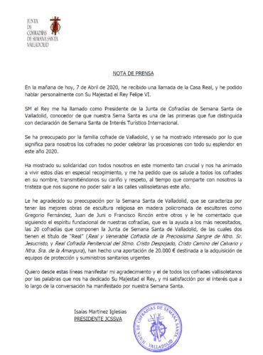 Nota de Prensa de la JCSSVA