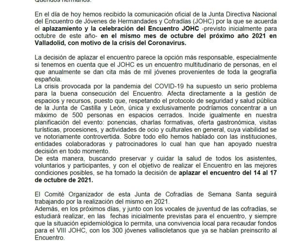 Comunicado Aplazamiento Encuentro-JOHC